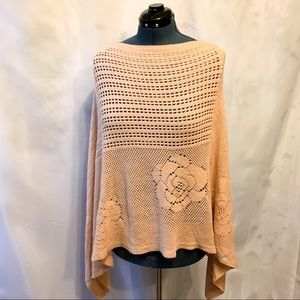 Lovely Cozy Peach Poncho with Floral Knit